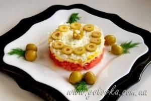 Салат слабосоленая семга грейпфрут