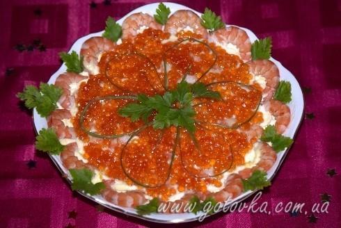 Салат с креветками под шубой