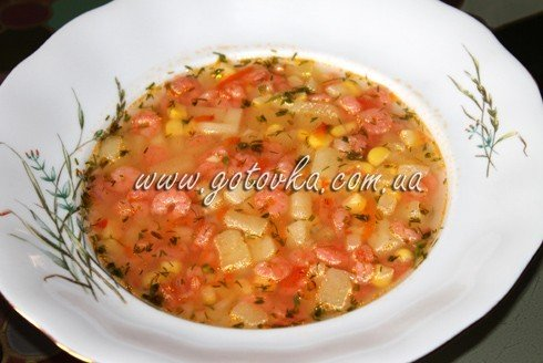 суп с креветками и кукурузой