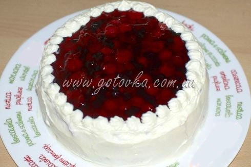 торт с фруктами и желе