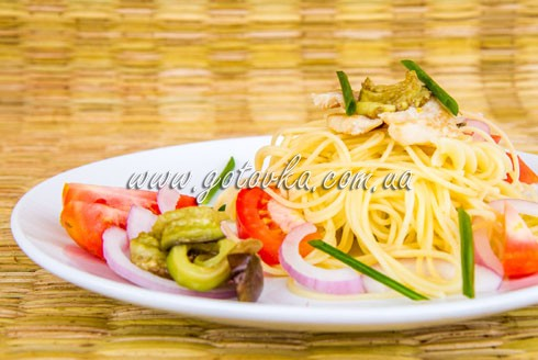 спагетти с курицей и баклажанами