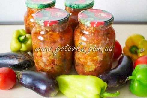 Маринованные баклажаны с помидорами и перцем чили