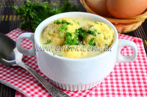 Греческий суп с творожно-рисовыми фрикадельками
