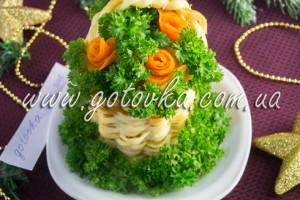 Новогодний салат из скумбрии Корзинка цветов