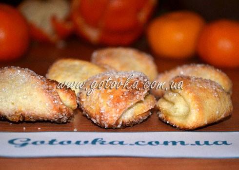 Творожное печенье новогодние ушки