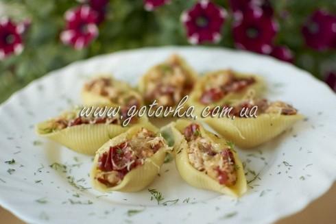 фаршированные макароны ракушки