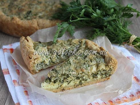 песочный пирог с сыром и зеленью