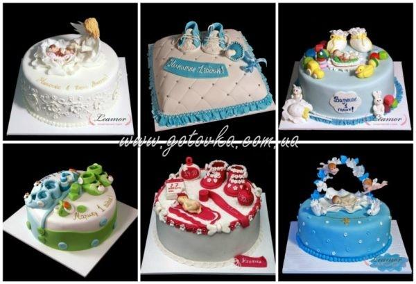 торт на крестины и рождение ребенка