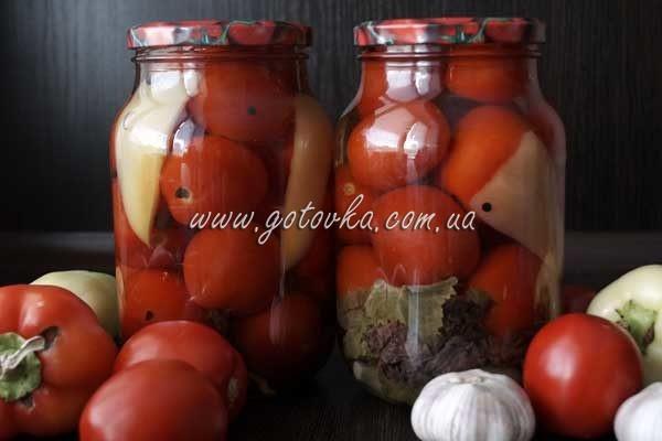 маринованные помидоры в литровых банках